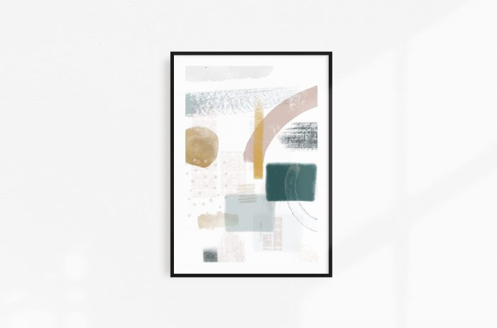 Black frame abstract shapes